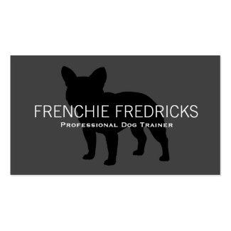 Französische Bulldoggen-Silhouette-Schwarzes auf Visitenkarten